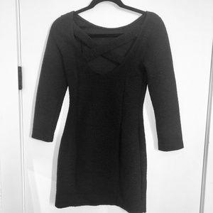 H&M Dresses - H&M 3/4 Sleeve Black Dress With Criss Cross Back